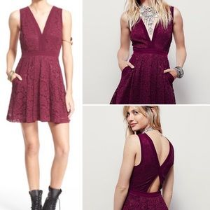 Free People Lovely in Lace Berry Dress Sz M